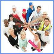 Group of adults in a circle dressed in items belonging to different occupations