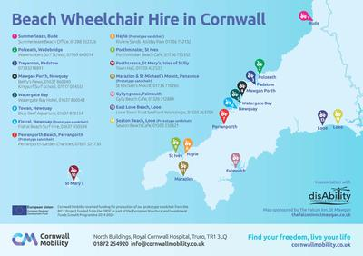 Map showing locations of Beach Wheelchairs in Cornwall