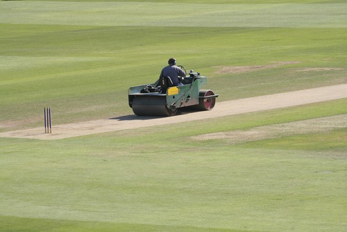 groundsman rolling the cricket square