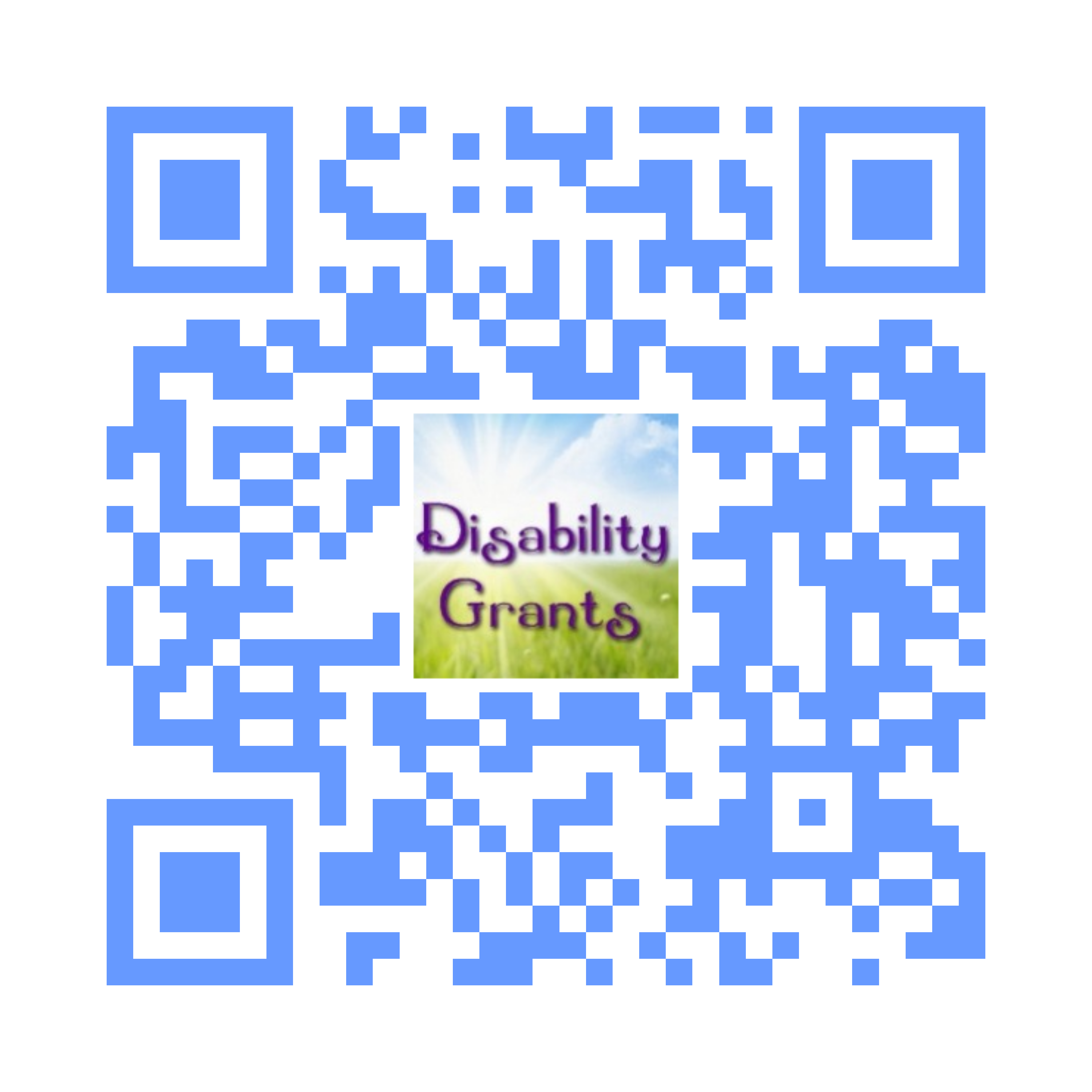 QR code linking to the Disability Grants website