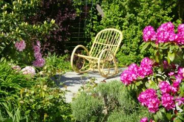 wicker rocking chair in secluded garden