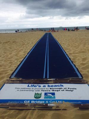 The mobi-matting runs all the way from the promenade to the sea- allowing anyone to easily access the beautiful water