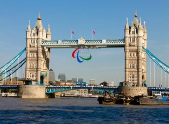 Tower bridge with Paralympic sign 2012