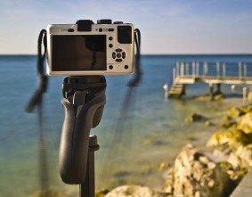 compact digital camera on a camera stand